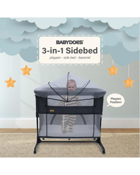Babydoes Minibed 3 in 1 Side Bed - Dark Grey