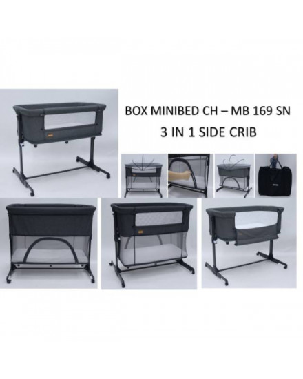 Babydoes Minibed 3 in 1 Side Bed - Dark Grey