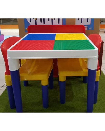 Meja Lego Brick 2 in 1 Study Desk (plus 2 chairs)