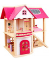 Wooden Pink Doll House (w furniture)