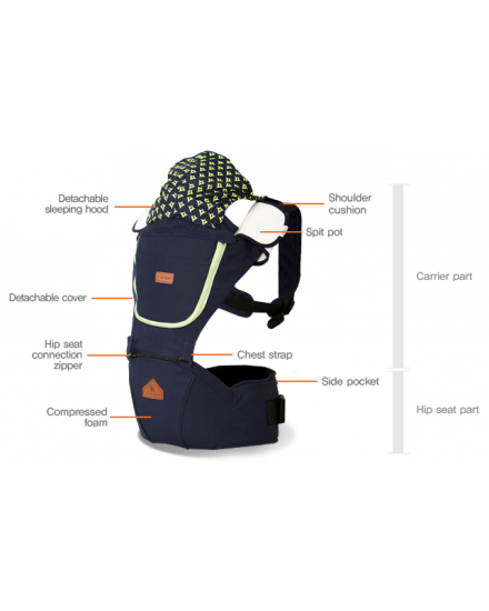 i-Angel 2 in 1 Hipseat baby Carrier Josh Navy